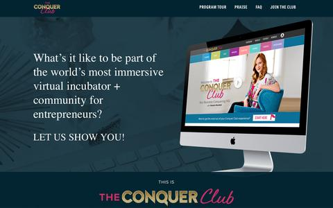 Screenshot of Home Page theconquerclub.com - Program Tour - The Conquer Club | She Takes on The World - captured May 2, 2017