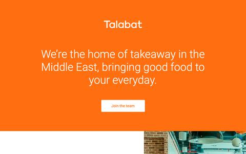 Screenshot of Jobs Page talabat.com - Talabat | Home of takeaway in the middle east – Careers – Home of takeaway in the middle east - captured April 13, 2019