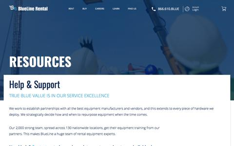 Screenshot of FAQ Page bluelinerental.com - Resources | BlueLine Rental - captured Oct. 16, 2017