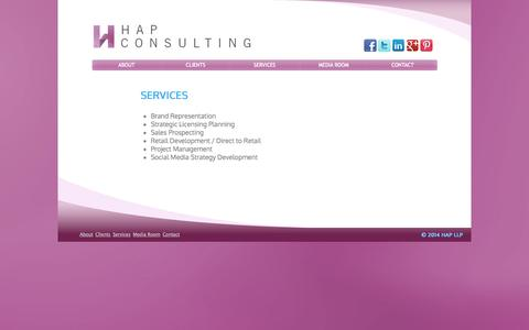 Screenshot of Services Page hapllp.com - Brand Licensing Agency | HAP Consulting Services | New York - captured Oct. 1, 2014