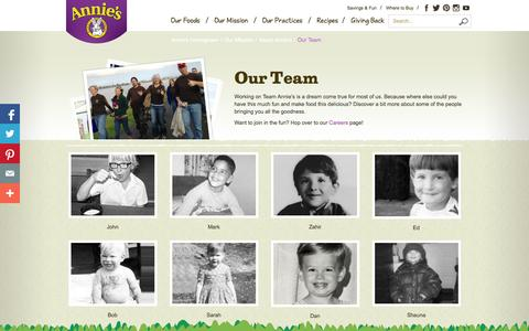 Screenshot of Team Page annies.com - Our Team - Annie's Homegrown - captured Sept. 25, 2014