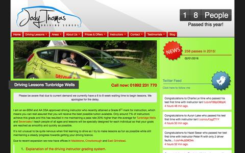 Screenshot of Home Page jodythomasdriving.co.uk - Driving Lessons Tunbridge Wells Sevenoaks Maidstone Crowborough: Jody Thomas Driving School | - captured Feb. 11, 2016