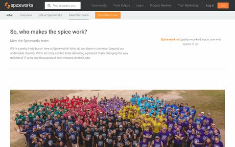 Screenshot of Team Page spiceworks.com - Meet the Team | Spiceworks - captured Dec. 29, 2017