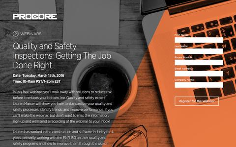Screenshot of Landing Page procore.com - Quality and Safety Inspections: Getting The Job Done Right. - captured April 19, 2016