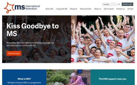 Screenshot of Home Page msif.org - Home | MS International Federation - captured Feb. 17, 2016