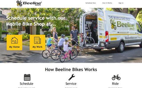 Screenshot of Home Page beelinebikes.com - Beeline Bikes : Mobile Bike Service - captured Feb. 7, 2016
