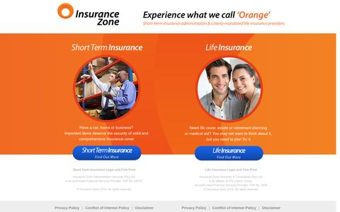 Screenshot of Home Page insurancezone.co.za - Insurance Zone | Experience what we call 'Orange' - captured Sept. 30, 2014