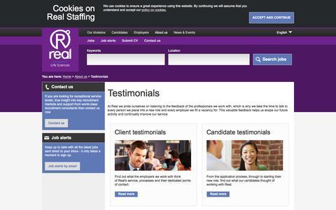 Screenshot of Testimonials Page realstaffing.com - Testimonials | Real Staffing - captured July 22, 2016
