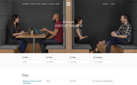 Screenshot of Jobs Page squareup.com - Jobs at Square - captured July 26, 2017