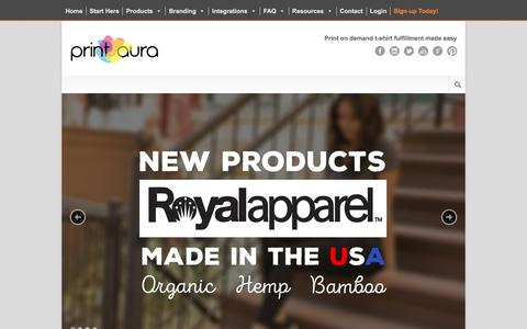 Screenshot of Home Page printaura.com - Direct to Garment T-Shirt Fulfillment. Print on Demand Dropshipping - captured July 20, 2018