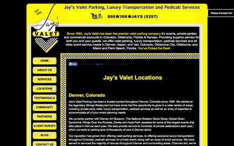 Screenshot of Locations Page jaysvalet.com - Valet Colorado | Valet Service | Valet Companies | Jay's Valet Parking - captured Oct. 6, 2014