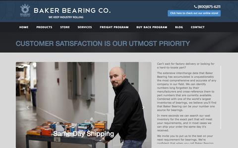 Screenshot of Services Page bakerbearing.com - Baker Bearing - captured Oct. 5, 2014
