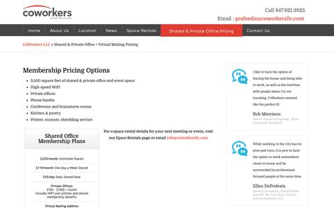 Screenshot of Pricing Page coworkersllc.com - Shared & Private Office + Virtual Mailing Pricing - captured Nov. 5, 2018