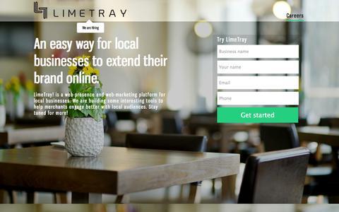 Screenshot of Home Page limetray.com - LimeTray.com | Take your business online - captured Sept. 23, 2014
