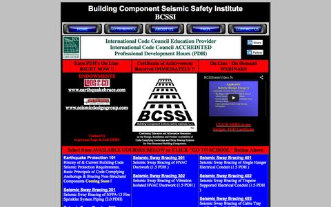 Screenshot of Home Page bcssi.org - Seismic Bracing - Earn CEU's/PDH's with Seismic Bracing Webinars per Building Codes - captured Oct. 5, 2014