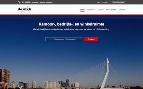 Screenshot of Home Page demik.nl - De Mik Bedrijfshuisvesting - captured Oct. 5, 2014