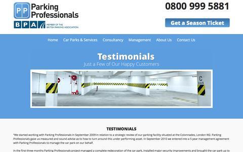 Screenshot of Testimonials Page parking-pros.co.uk - Car Park Professionals Testimonials | Parking Professionals - captured Jan. 25, 2016