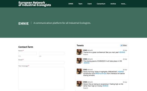 Screenshot of Contact Page weebly.com - Contact - European Networkof Industrial Ecologists - captured Sept. 17, 2014