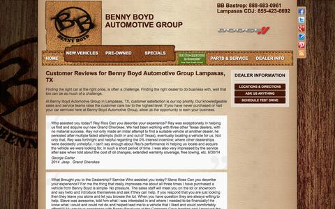 Screenshot of Testimonials Page bennyboyd.com - Chrysler Dodge Jeep RAM Lampasas, TX | Benny Boyd Auto Group | New & Used Car Dealer - captured Oct. 5, 2014