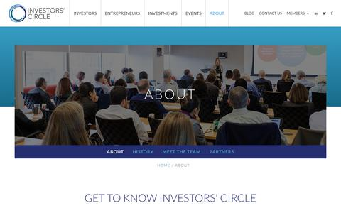Screenshot of About Page investorscircle.net - About | Investors' Circle - captured July 13, 2018