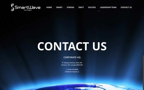 Screenshot of Contact Page smartwave.ca - SmartWave Technologies   –  Contact Us - captured Feb. 4, 2016