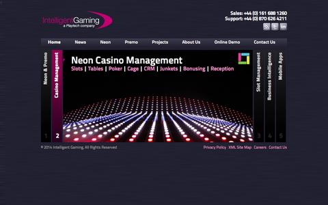 Screenshot of Home Page intelligentgaming.co.uk - Intelligent Gaming Casino Systems | Innovative Casino Management Systems - captured Sept. 26, 2014