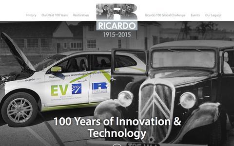 Screenshot of Home Page ricardo100.com - Home - Ricardo Centenary - captured Sept. 19, 2015