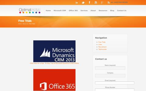 Screenshot of Trial Page optimalcrm.co.uk - Free trial of Microsoft Dynamics CRM, Office 365 and Windows Intune - captured Oct. 6, 2014