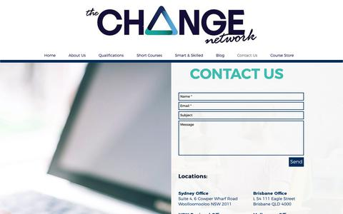 Screenshot of Contact Page changenetwork.com.au - Contact | The Change Network - captured Oct. 18, 2018