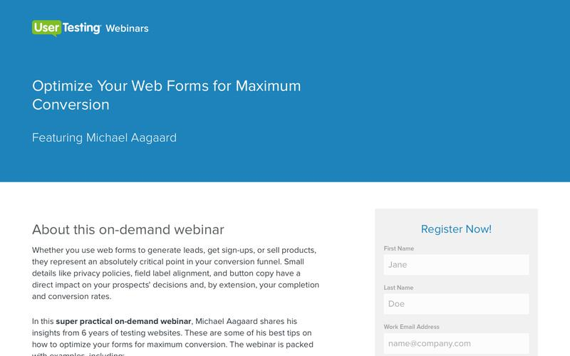 OnDemand Webinar: Optimize Your Web Forms for Maximum Conversion | UserTesting