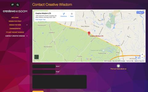 Screenshot of Contact Page creativewisdom.co.uk - Contact Creative Wisdom for graphic design Romsey and Southampton - captured Feb. 1, 2016