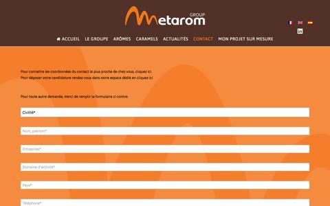 Screenshot of Contact Page metarom.com - Contact - Metarom - captured Oct. 18, 2017