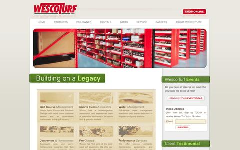 Screenshot of Home Page wescoturf.com - Wesco Turf, Inc. - New and Used Golf, Turf, and Grounds Equipment.  Toro Irrigation and water management systems. - captured Oct. 7, 2014