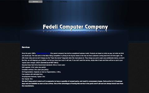 Screenshot of Services Page fedcco.com - Services - Fedeli Computer Company - captured Oct. 5, 2014