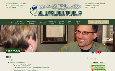 Screenshot of Site Map Page nocoperio.com - Sitemap Fort Collins CO, Northern Colorado Periodontics - captured Jan. 28, 2016