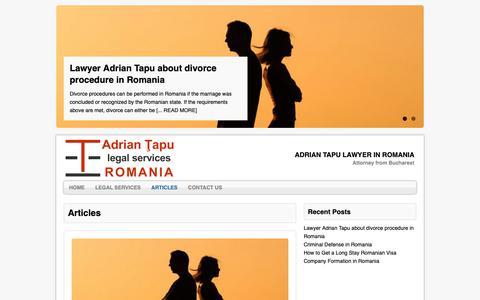 Screenshot of Press Page tapu.ro - Articles | Adrian Tapu Lawyer in Romania - captured Nov. 12, 2018