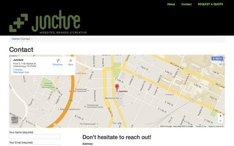 Screenshot of Contact Page thejuncture.com - Contact   Juncture LLC - captured Feb. 11, 2016