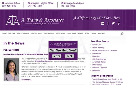 Screenshot of Press Page atclaw.com - In the News | A. Traub & Associates, P.C. | Lombard, Arlington Heights - captured Nov. 14, 2016