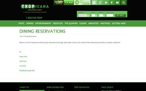Screenshot of tropicana.net - Tropicana Atlantic City | Atlantic City Restaurant - captured March 20, 2016