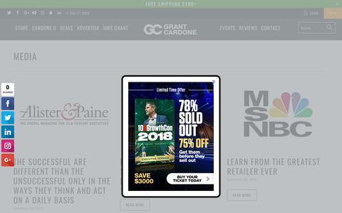 Screenshot of Press Page grantcardone.com - News Media - Grant Cardone Training - captured Aug. 5, 2017