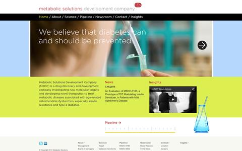Screenshot of Home Page msdrx.com - Metabolic Solutions - captured Sept. 16, 2014