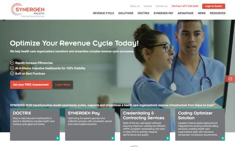 Screenshot of Home Page synergenhealth.com - SYNERGEN Health | Optimize your Revenue Cycle Today! - captured Sept. 15, 2019