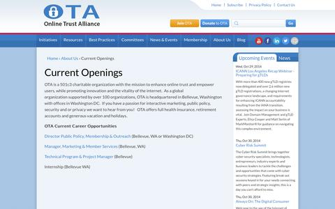 Screenshot of Jobs Page otalliance.org - Current Openings   Online Trust Alliance - captured Oct. 26, 2014