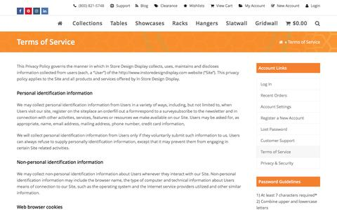 Screenshot of Terms Page instoredesigndisplay.com - Terms of Service - InStore Design Display - captured Aug. 29, 2016