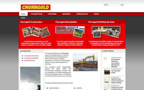 Screenshot of Home Page churngold.com - Churngold Group - Construction, Recycling, Remediation, Surfacing and Building Services - captured Oct. 2, 2014