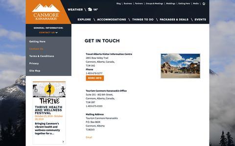 Screenshot of Contact Page tourismcanmore.com - Contact Us | Tourism Canmore Kananaskis - captured Sept. 26, 2018