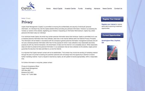 Screenshot of Privacy Page capita.com.au - Contact Us - Capita Asset Management - captured Oct. 1, 2014
