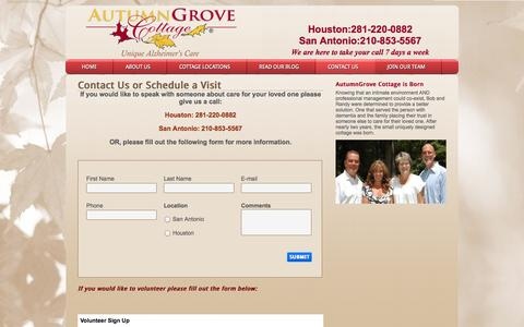 Screenshot of Contact Page autumngrove.com - Senior Living Communities Texas — AutumnGrove Cottage Assisted Living San Antonio and Houston TX - captured Oct. 4, 2014