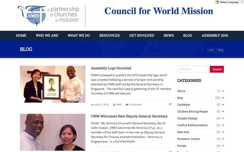 Screenshot of Blog cwmission.org - Council for World Mission |      Blog - Council for World Mission - captured Feb. 1, 2016