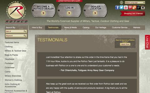 Screenshot of Testimonials Page rothco.com - Testimonials - captured Oct. 26, 2014